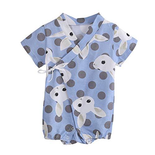 NISOWE Baby-Strampler für Neugeborene, Unisex, kurzärmelig, gepunktet, Cartoon-Strampler Gr. M, hellblau