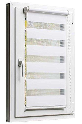 Fensterrollo Doppelrollo Duorollo Sonnenschutz Sichtschutz mit Kettenzug und Klemmfix in WEISS, mit komplettem Zubehör und weissen Leisten, 40cm x 150cm