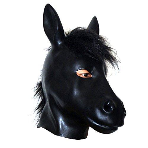 EXLATEX Latex Hood Pferd Tier Gummi Maske Fetisch Zubeh?r mit Rei?verschluss (Atem Kapuze)