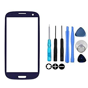 Jazooli Replacement Blue Front Outer Glass Screen Lens For Samsung Galaxy S3 i9300 - Tools Included
