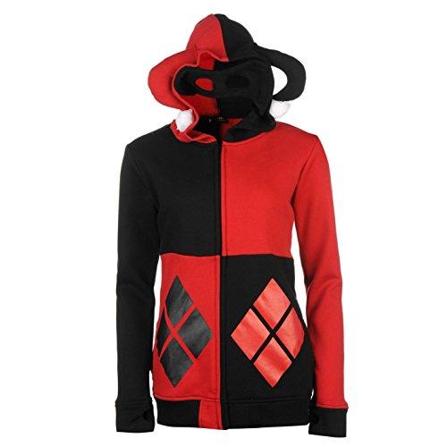 Harley Quinn Batman Full Zip Hoody Damen Rot/Schwarz Hoodie Jacke Top Sweatshirt XS rot / (Harley Hoodie Quinn)
