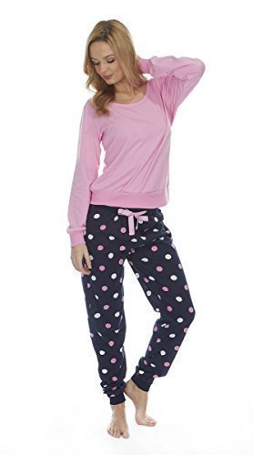 Femmes Riche En Coton Pyjamas Vêtement De Détente Manches Longues Pois Roses