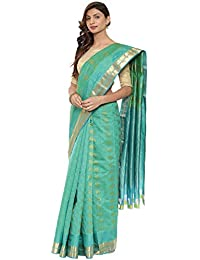 CLASSICATE From the house of The Chennai Silks Traditional Silk Saree (CCMYSS10371 - Peacock Green)