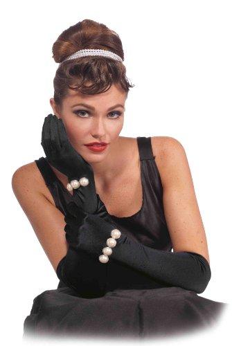 Vintage Hollywood Long Black Adult Costume Gloves With Pearl Bracelet One Size
