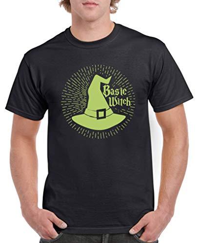 Comedy Shirts - Basic Witch - Halloween - Herren T-Shirt - Schwarz/Grün Gr. 4XL