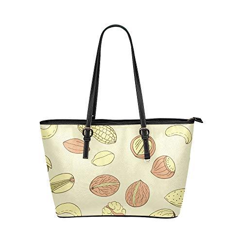Peanut Little Beans Daily Food Große Leder Tragbare Top Hand Totes Taschen Kausale Handtaschen Reißverschluss Schulter Einkaufstasche Geldbörse Organizer für Dame Girls Womens - Pistazien-cashew
