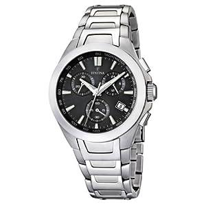 FESTINA F16678/3 - Reloj cronógrafo de cuarzo para hombre con correa de acero inoxidable, color plateado de FESTINA