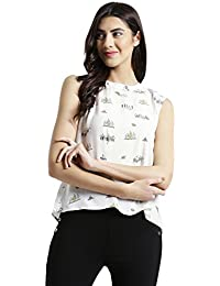 Zink London White Printed Sleeveless Top with Back Tie-Up Top for Women