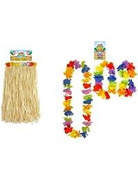 Adults Long Hawaiian Beach Hula Flower Skirt & 4 Piece Lei Fancy Dress Accessory