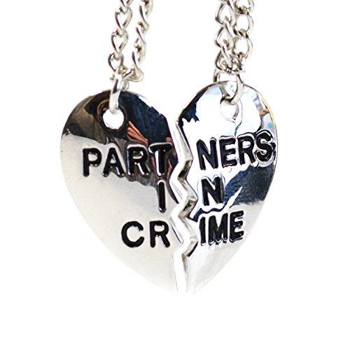 Beaux Bijoux Set de 2 collares de plata, con forma de corazón partido, para mejores amigos y parejas - colgante con diseño de puzzle