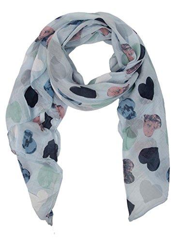 Seiden-Tuch mit Herz Muster - Hochwertiger Schal für Damen Mädchen - Halstuch - tuchschal - Loop - weicher Schlauchschal für Sommer Herbst und Winter von Cashmere Dreams - Zwillingsherz - hbl