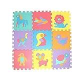 Oldhorse Tapis de Puzzle en Mousse Dalles en Mousse pour Bébé Enfant Alphabet Chiffres Puzzle Tapis de Sol d'éveil Colorées en EVA Mousse,Jouets Educatifs pour Enfants (Animaux)