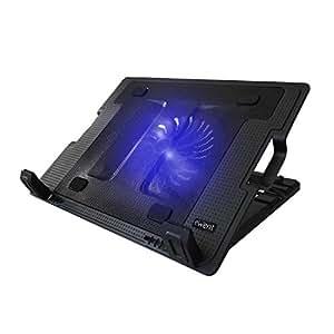 Ewent EW1258 Supporto con Sistema di Raffreddamento per Notebook, MacBook 12 / 15.6 / 17 pollici con 1 Ventola Silenziosa e Luce LED, Supporto Regolabile in 5 diverse inclinazioni