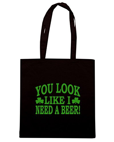 T-Shirtshock - Borsa Shopping TIR0232 you look like i need a beer dark tshirt Nero