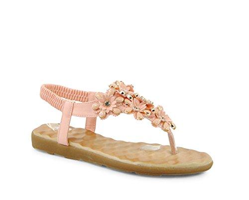 Damen Sandalen Keilabsatz Blumen Zehentrenner Sandaletten Glitzer Riemchen ST261 Rosa