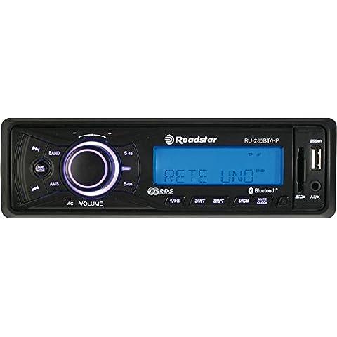 Roadstar RU-285BT sintonizador de CD/DVD para el coche - Radio para coche (FM, LCD, Azul, Negro, 4 x 7.5W, 186 x 135 x 57