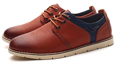 Men's Black Blue Soft Leather Oxfords Shoes 282 brown