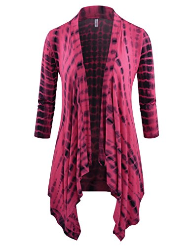 NEARKIN Open Front Slim Cut Look Women Three Quater Sleeve Drape Cardigans