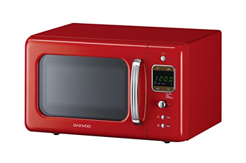 Daewoo KOR7LBKR Retro Style Microwave Oven, 20 L, 800 W – Red