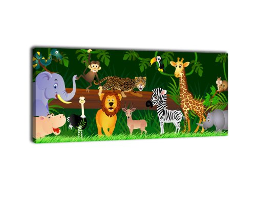 wandmotiv24 Leinwandbild Panorama Nr. 66 Animals 100x40cm, Bild auf Leinwand, Kunstdruck Kinder Tiere Dschungel -