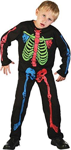 Boy Skeleton Kostüm - Skeleton Boy - Mehrfarbige Bones - Kinder-Kostüm - XL - 146 bis 158cm