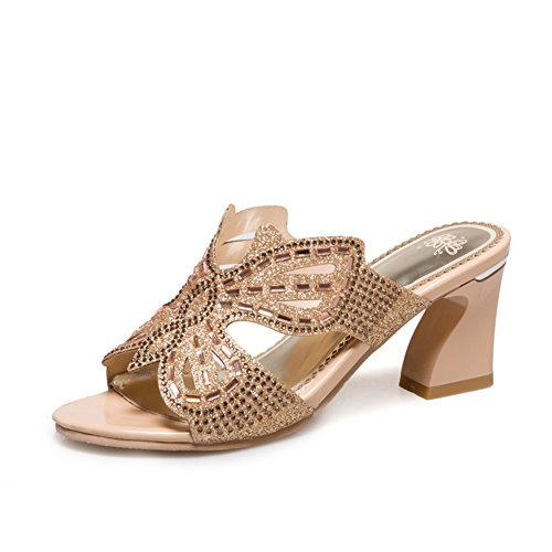 Chunky Tacchi Tacchi Alti/Paillettes Pantofole Una Sola Parola/Le Scarpe Di Mamma B