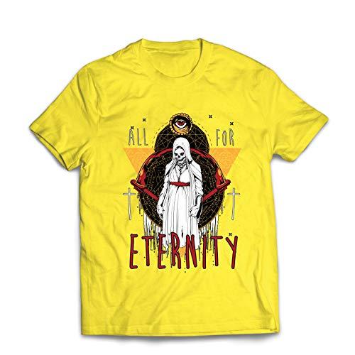 lepni.me Männer T-Shirt Alles für die Ewigkeit, Skelett, Halloween, Exorzist (XX-Large Gelb