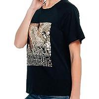 LILICAT✈ Fashion Women Bright Loose Short Sleeve T-Shirt Casual O-Neck Tops Simple Cotton Sequin Short-Sleeved T-Shirt Casual Versatile Top Black,White S/M/L/XL/XXL