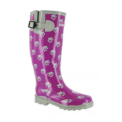 Cotswold Dog Paw Wellingtons Womens Synthetic Material Wellies Black/White