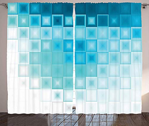 Muccum Abstract Curtains Mosaic Style Soft Toned Fractal Square Shapes with Charming Light Effects Image Living Room Bedroom Window Drapes Set Inches Aqua Sky Blue - Soft Square Bath Hardware