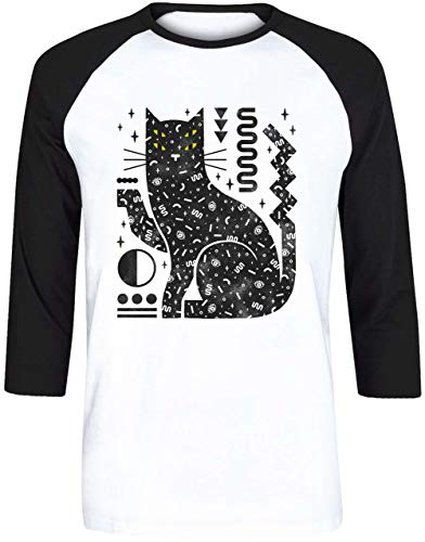 Zauber Katze Herren Weiß Schwarz Baseball T-Shirt 3/4 Ärmel Größe L | Men's White Black Baseball T-Shirt Size L