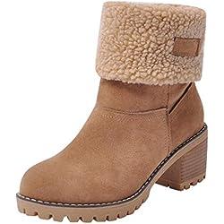 Logobeing Botas Mujer Invierno Botas de Mujer Casual Zapatos Mujer Botines Mujer Tacon Plana Calientes Cálidos Antideslizantes con Cordones Tubo Corto Altas Boots