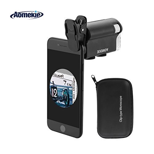 Aomekie Handy Mikroskop Lupe 60X-100X Zoom Objektiv Taschenmikroskop mit LED UV Licht Universal Clip und Tasche für iPhone und Smartphone - Handy-mikroskop