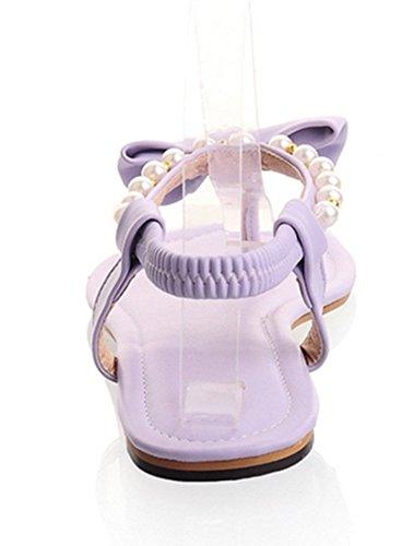 YE Frauen öffnen Zehe Thong Flache Perlen T-Strap Strand Riemchen Sandalen mit Schleife Flip Flops Schuhe Lila