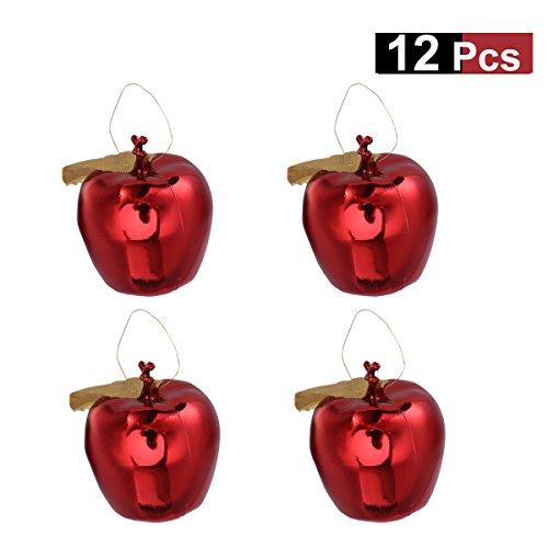 BESTOYARD 12Pcs Deko Apfel 4cm Christbaumschmuck Anhänger Weihnachtskugeln Ornament Weihnachtsdeko Winterdeko (Rot)