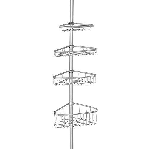 Interdesign 42686EU - Mensoline telescopische per bagno, da applicare nella doccia, modello York Caddy 2, colore argento
