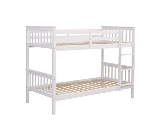 Children's Pine Bunk Bed Frame Single 3FT, Available in 3 Colours (White)