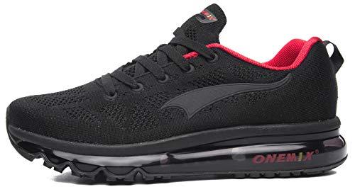 ONEMIX Scarpe da Corsa per Uomo Leggero Cuscino d'Aria Cuscino Outdoor Athletic Sport Trainer Walking Sneaker - Nero Rosso 40 EU