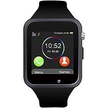 Reloj Inteligente, Jukkarri con Bluetooth y Ranura para Tarjeta SIM para Usar Como Teléfono Móvil. Reloj Deportivo con Rastreador de Actividad, Podómetro Inteligente, Compatible con Android/iOS