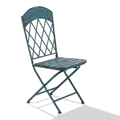 miaVILLA Stuhl-Set 2-teilig - Vintage Blau - Garten-Klappstühle im Antik-Look - Holz/Metall