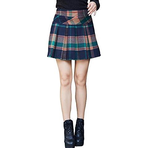 Chouyatou—Mujer Falda Corta Tartán Plisada Cintura Alta Faldas De Cuadros