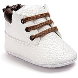 Auxma Bebé niño zapatos,cuero suela suave infantil niño zapatos con cordones (11cm(0-6 meses), blanco)