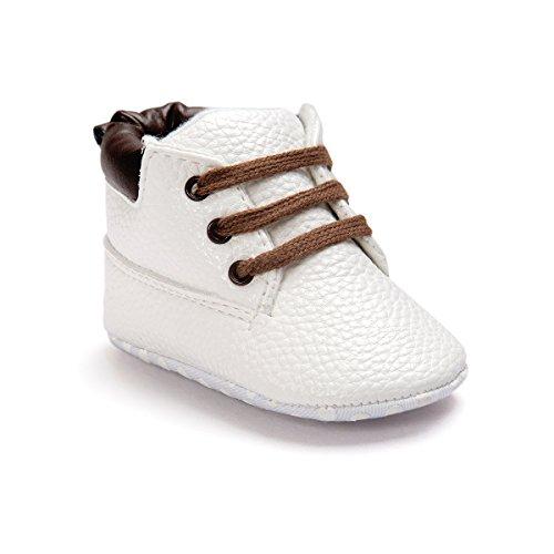 Auxma Bebé niño zapatos,cuero suela suave infantil niño zapatos con cordones (11cm(0-6 meses),