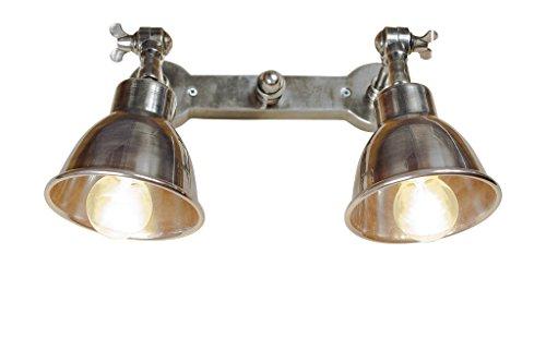 Pib lampade da parete doppia applique argentata in stile vintage