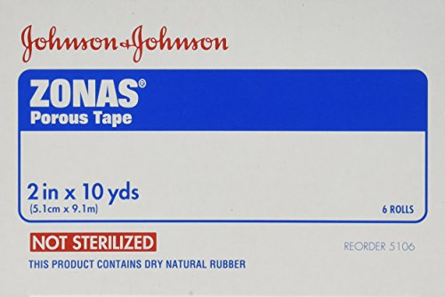 10 Yd Erste Hilfe (Zonas Porous Athletic Tape 2 Inches X 10 Yards (Box of 6 Rolls) by Johnson & Johnson)