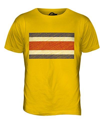 CandyMix Costa Rica Kritzelte Flagge Herren T Shirt Dunkelgelb