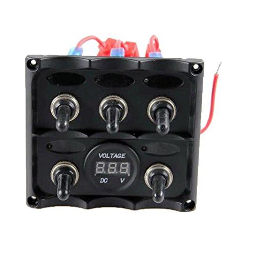 Interruttore Pannello, lanowo Marino elettrico 5Gang Blu LED Pannello Interruttore A Levetta con LED rosso voltmetro pannello per tutti i 12-24V DC Tensione Auto installazione