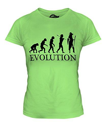CandyMix Cosplay Evolution Des Menschen Damen T Shirt, Größe Small, Farbe (Perücke Grün Lime)