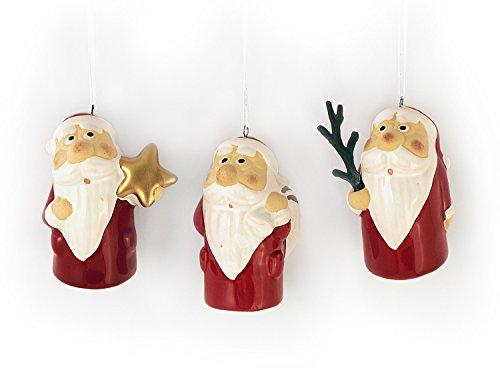3x Deko Anhänger Weihnachtsmann im Set je 6 cm, Ton rot weiß, lustige Steingut Tonfigur Nikolaus Dekofiguren Winter Weihnachtsfigur Weihnachtsdeko modern