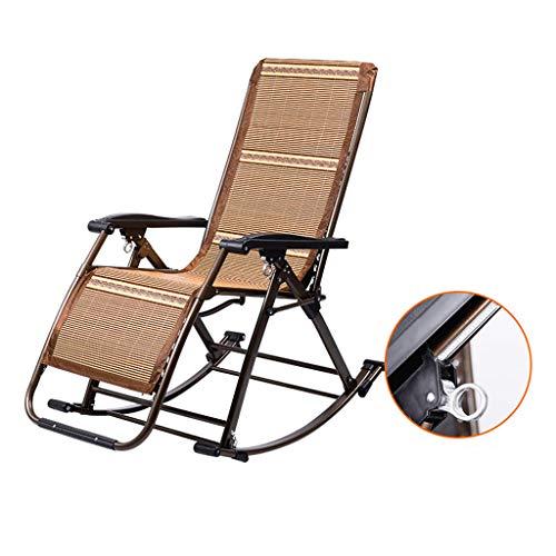Rocking chair Fauteuil à Bascule en métal Pliable avec Coussins Multifonction Pratique pour Se détendre ou Se détendre, Métal, Bamboo Mat